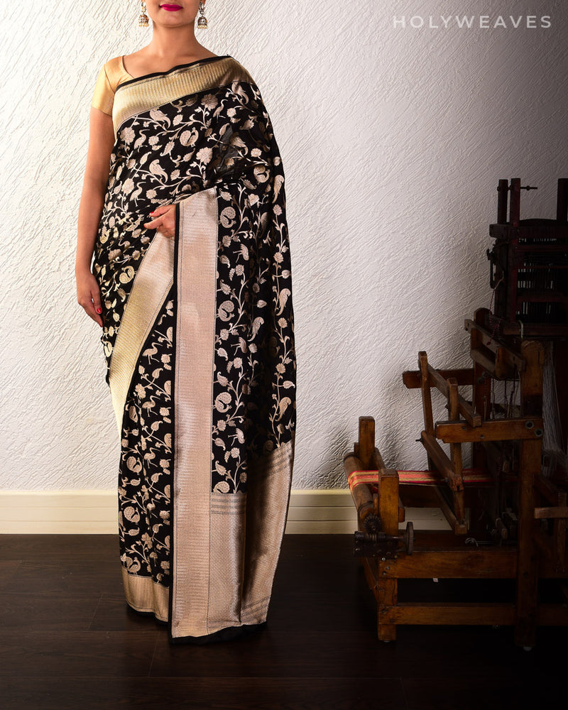 Black Banarasi Shikargah Cutwork Brocade Handwoven Katan Silk Saree
