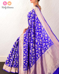 Royal Blue Banarasi Shikargah Cutwork Brocade Handwoven Katan Silk Saree