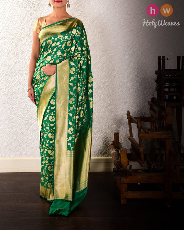 Emerald Green Banarasi Shikargah Cutwork Brocade Handwoven Katan Silk Saree - HolyWeaves