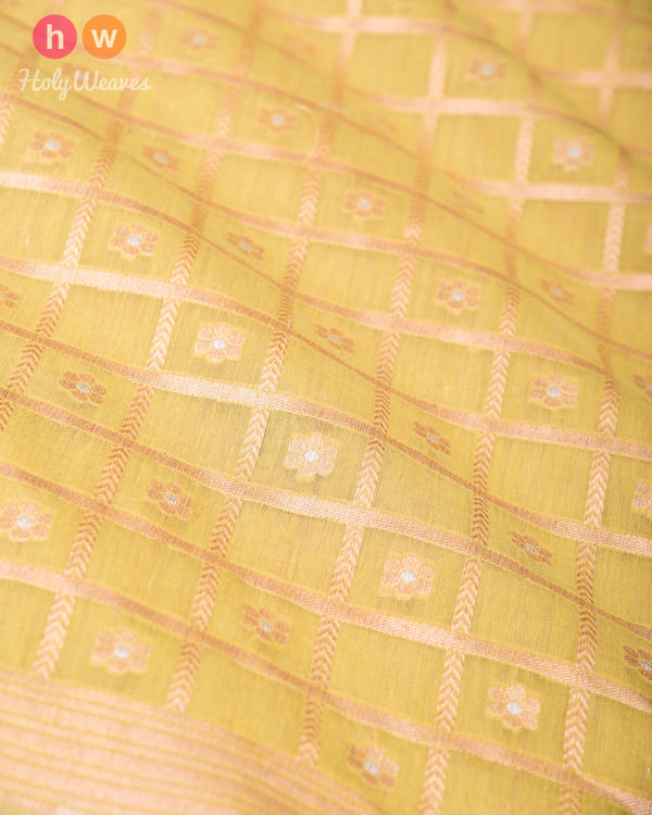 Lime Green Banarasi Gharchola Alfi Sona-Rupa Cutwork Brocade Handwoven Cotton Silk Fabric- HolyWeaves