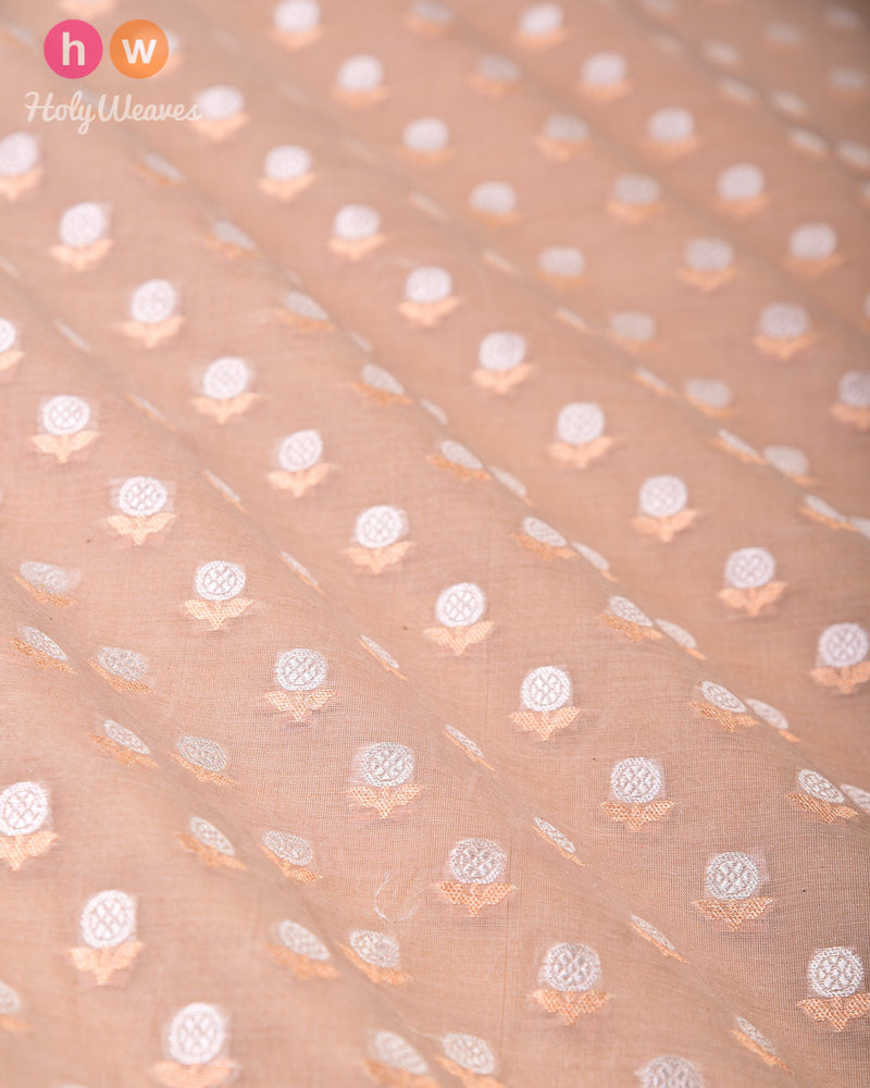 Stone Gray Banarasi Buti Alfi Sona-Rupa Cutwork Brocade Handwoven Cotton Silk Fabric- HolyWeaves