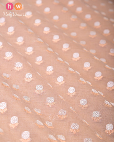 Stone Gray Banarasi Buti Alfi Sona-Rupa Cutwork Brocade Handwoven Cotton Silk Fabric