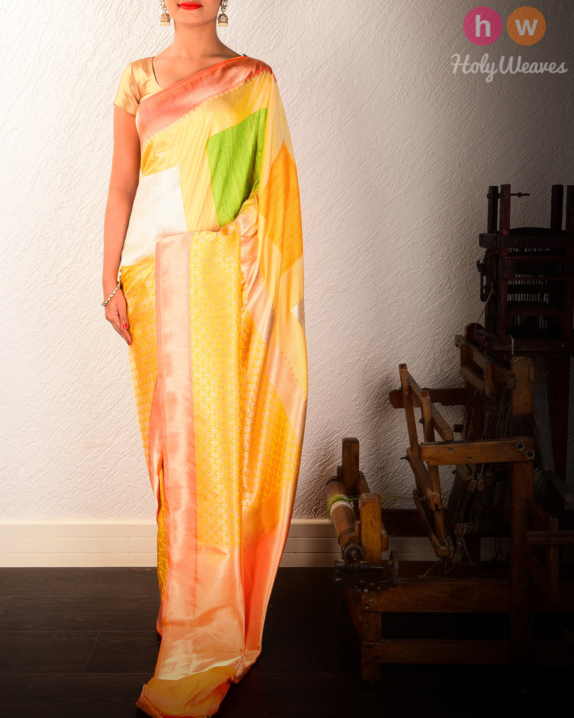 Yellow Banarasi Kadhuan Brocade Handwoven Katan Silk Saree
