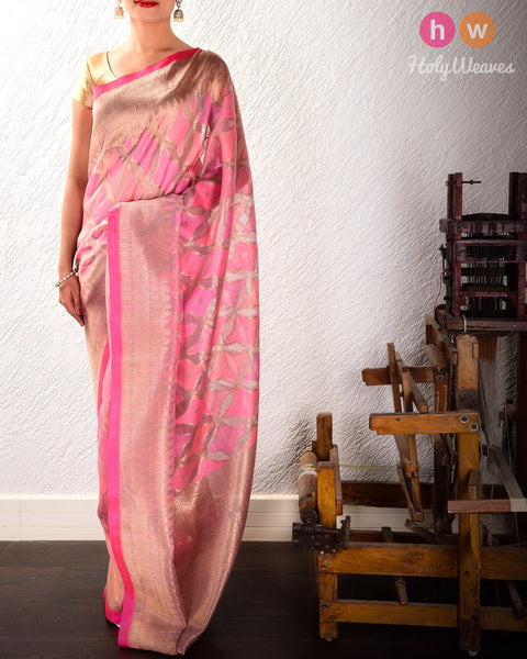 Tuscany Peach Banarasi Starfish Cutwork Brocade Handwoven Kora Silk Saree