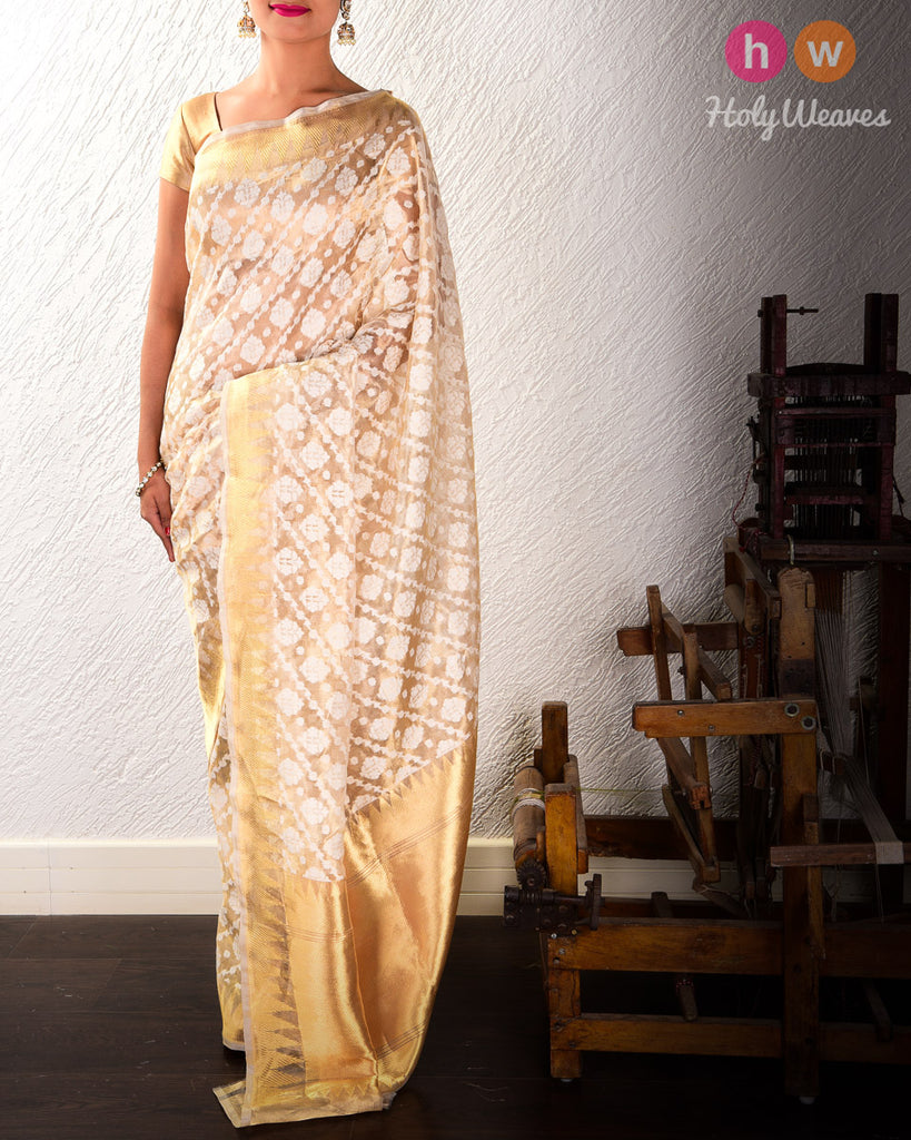 Gold Banarasi Cutwork Brocade Handwoven Kora Tissue Saree