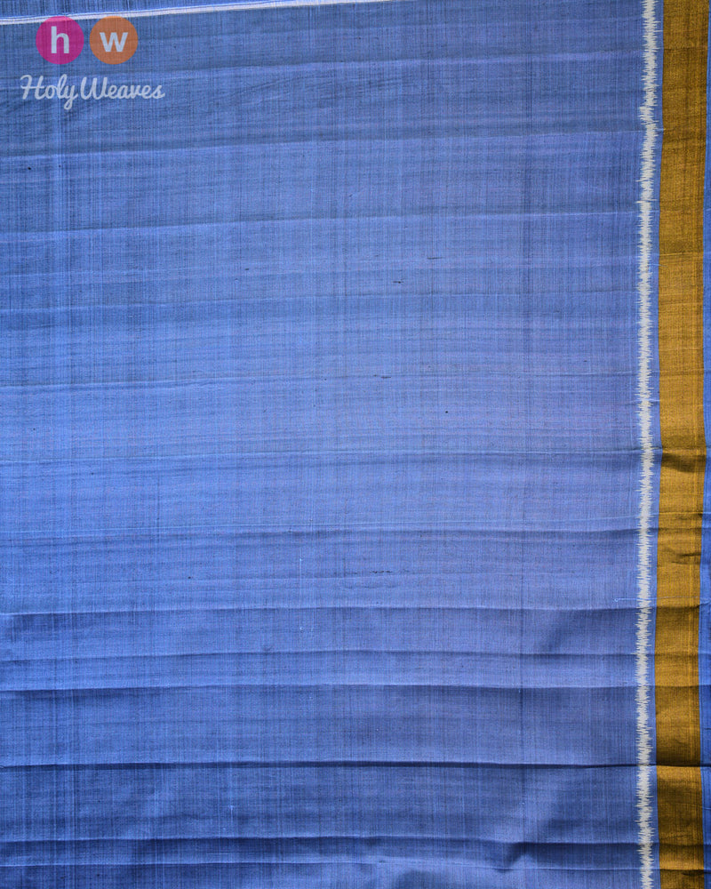 Marengo Gray Geometric Alfi Patola Ikat Handwoven Silk Saree with Dhoop-Chhanv color effect- HolyWeaves