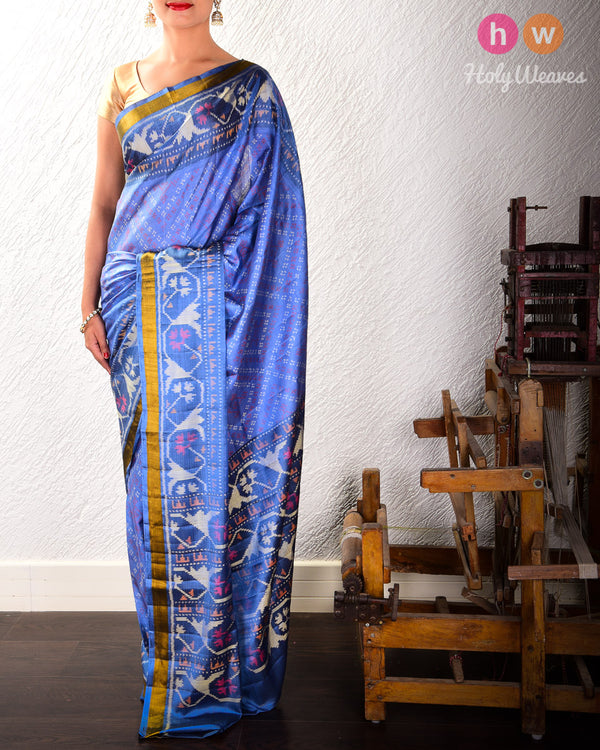 Marengo Gray Geometric Alfi Patola Ikat Handwoven Silk Saree with Dhoop-Chhanv color effect