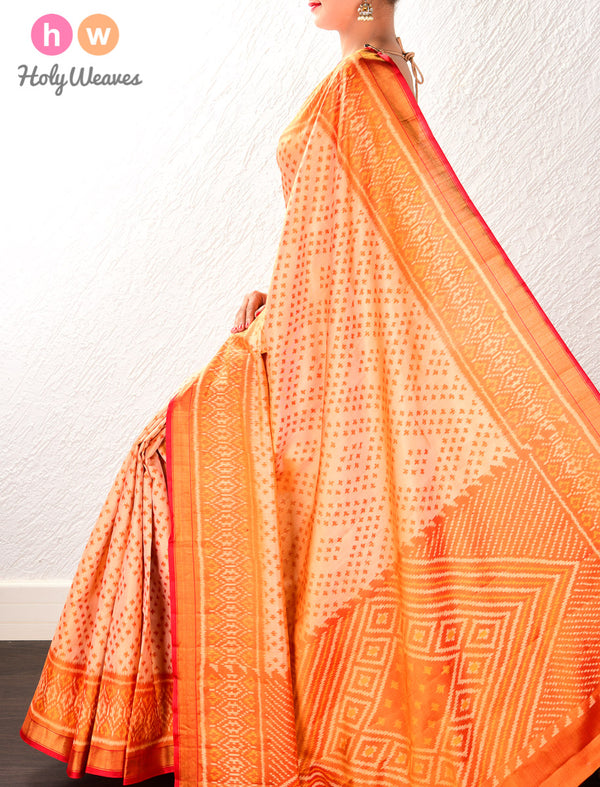 Beige Geometric Alfi Patola Ikat Handwoven Silk Saree with Dhoop-Chhanv color effect- HolyWeaves