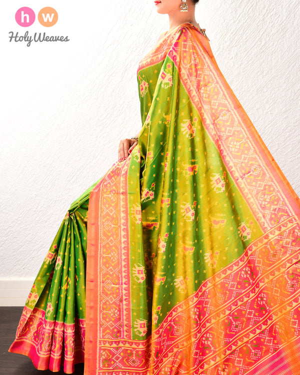 Forest Green Popat-Kunjar Tilfi Patola Ikat Handwoven Silk Saree with Dhoop-Chhanv color effect- HolyWeaves