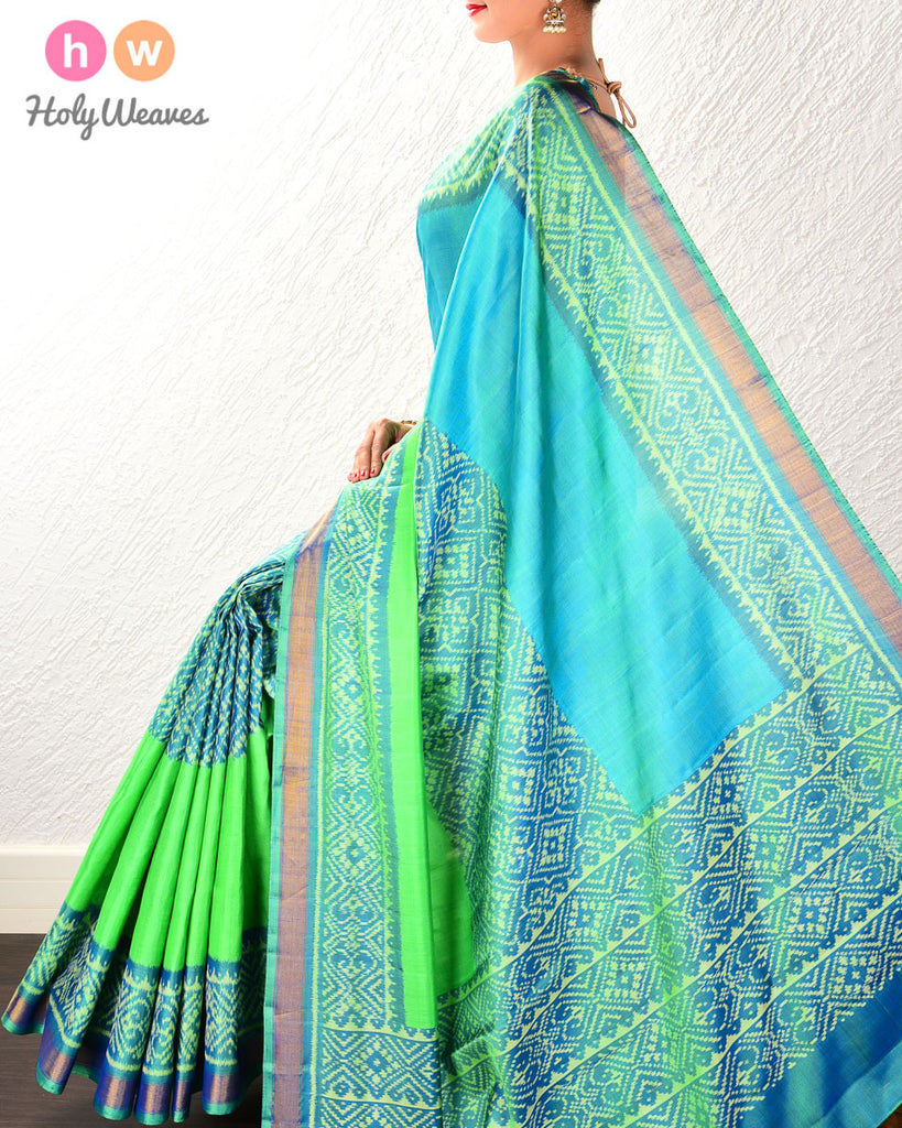 Jade Green Paan Bhat Patola Ikat Handwoven Silk Saree with Dhoop-Chhanv color effect