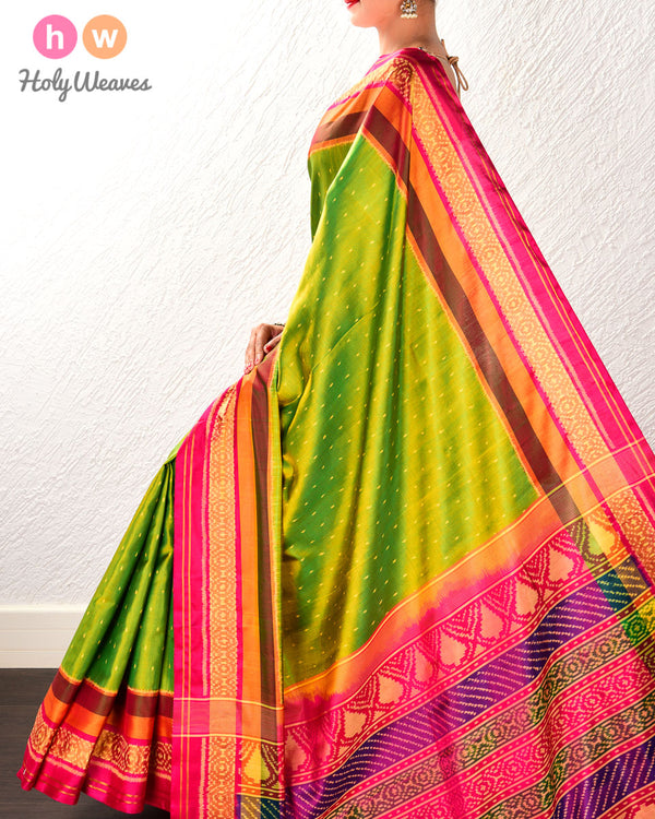 Green-Yellow Raindrop Patola Ikat Handwoven Silk Saree with Dhoop-Chhanv color effect