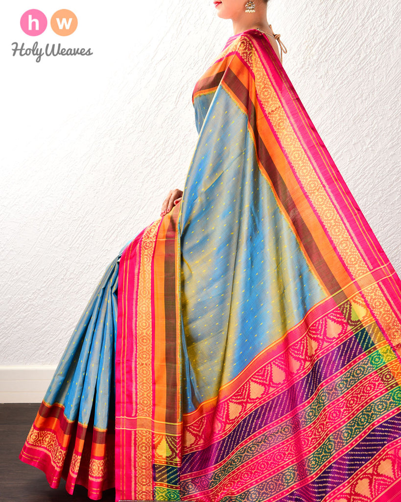 Blue-Yellow Raindrop Patola Ikat Handwoven Silk Saree with Dhoop-Chhanv color effect