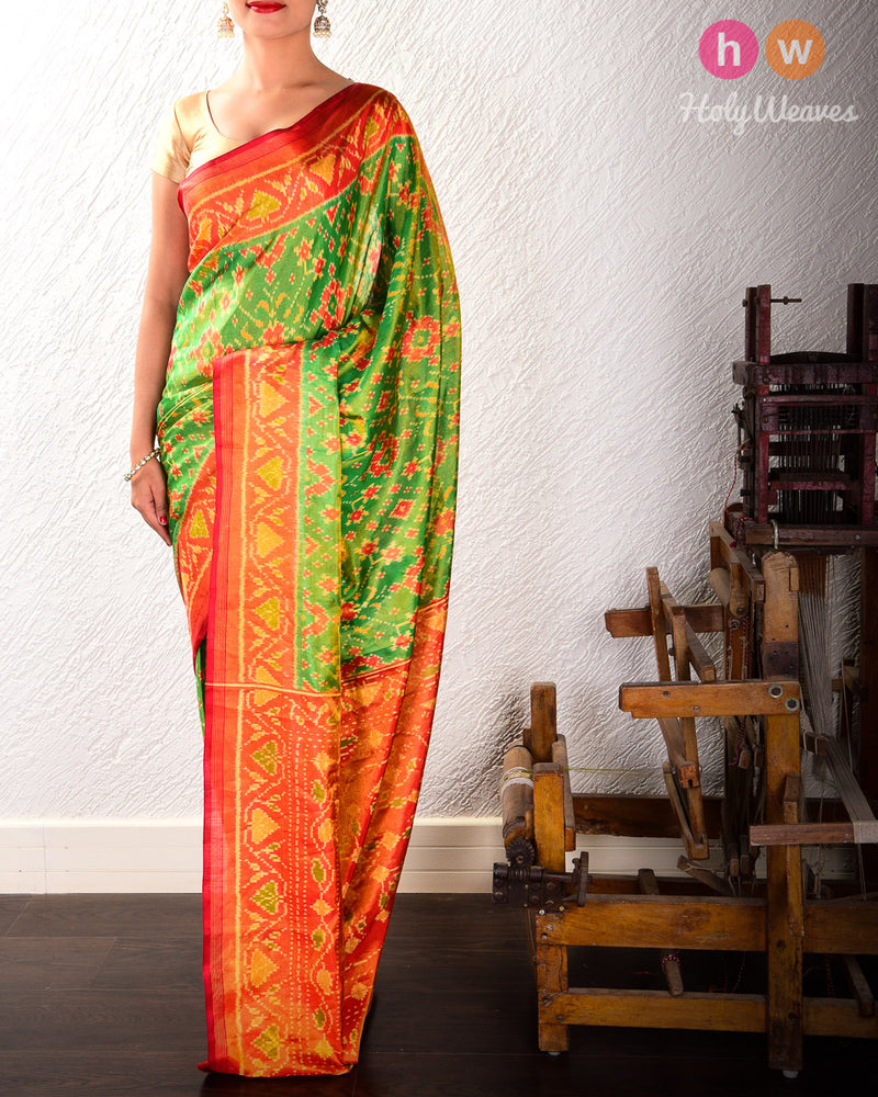Forest Green Ratan Chowk Tilfi Patola Ikat Handwoven Silk Tissue Saree with Dhoop-Chhanv color effect- HolyWeaves