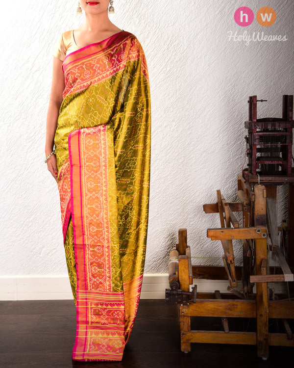 Olive Green Paan Bhat Tilfi Patola Ikat Handwoven Silk Tissue Saree with Dhoop-Chhanv color effect- HolyWeaves