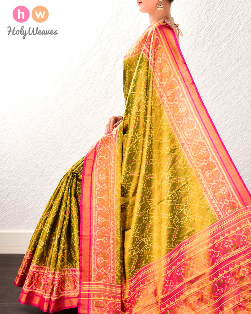 Olive Green Paan Bhat Tilfi Patola Ikat Handwoven Silk Tissue Saree with Dhoop-Chhanv color effect - HolyWeaves