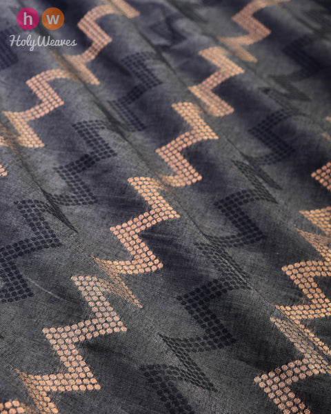 Gray Banarasi Antique & Black Chevron Alfi Cutwork Brocade Handwoven Cotton Silk Fabric