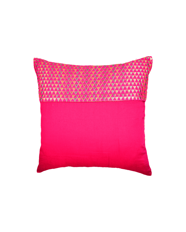 "Pink Handloom Triangle & Tissue Silk Wool Cushion Cover 16"" - HolyWeaves"