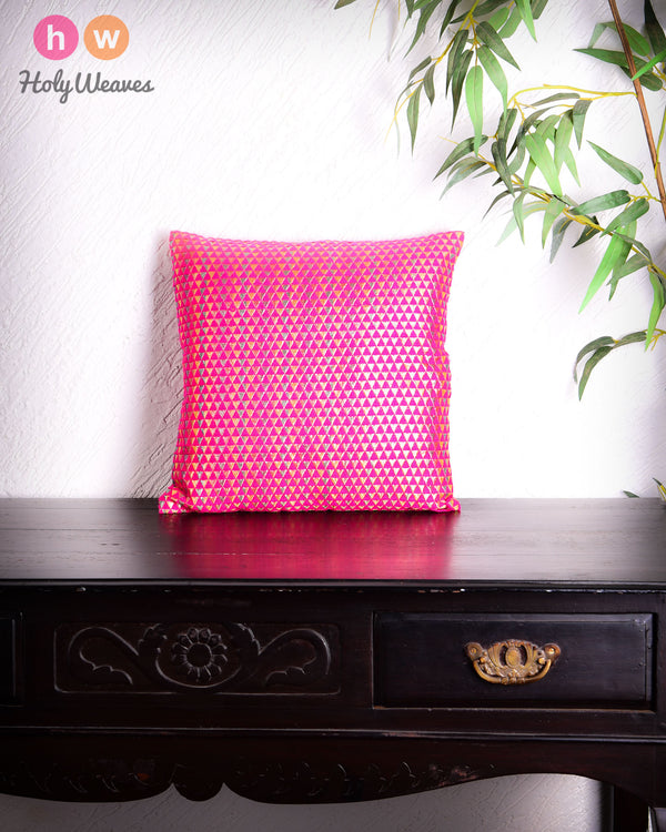 "Pink Handloom Triangle & Tissue Silk Wool Cushion Cover 16""- HolyWeaves"