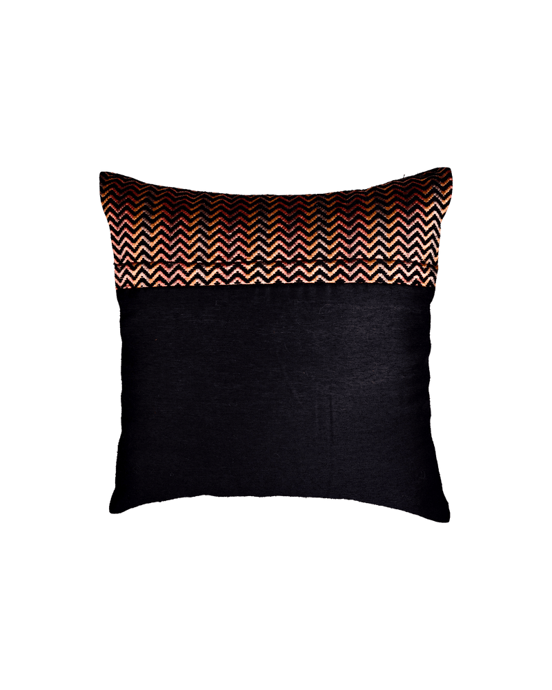"Black Chevron Tissue Silk Wool Cushion Cover 16"" - HolyWeaves"