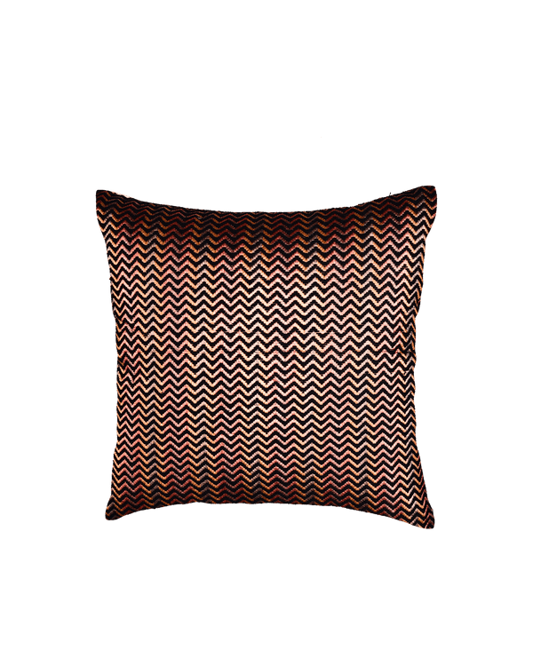 "Black Chevron Tissue Silk Wool Cushion Cover 16""- HolyWeaves"
