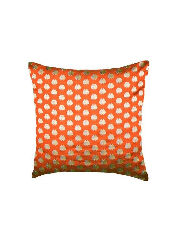 "Rust Twin-Spade Poly Silk Cushion Cover 16""- HolyWeaves"