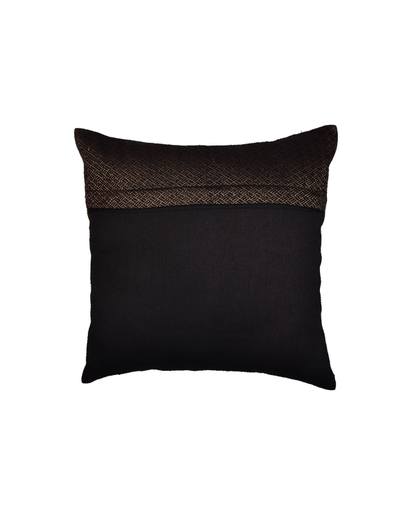 "Black Antique Jacquarrd Noile Silk Cushion Cover 16"" - HolyWeaves"