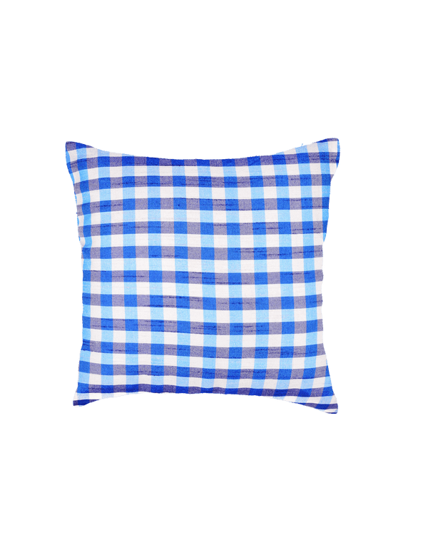 "Blue Gingham Checks Poly Dupion Cushion Cover 16"" - HolyWeaves"