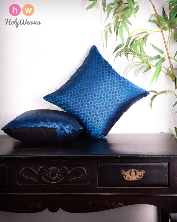 "Blue Banarasi Jacquard Poly Silk Cushion Cover 16""- HolyWeaves"