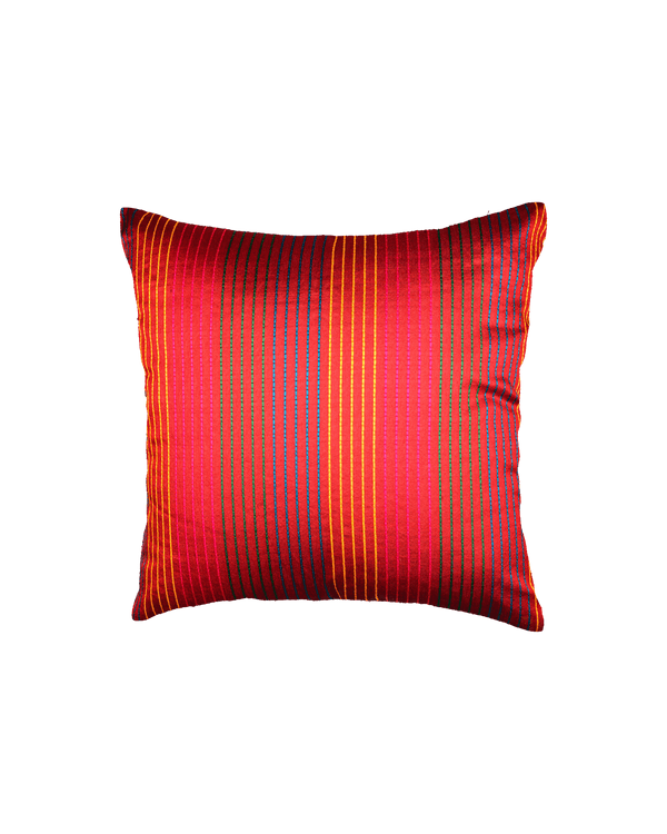 "Red Banarasi Multi-color Stripes Poly Silk Cushion Cover 16""- HolyWeaves"