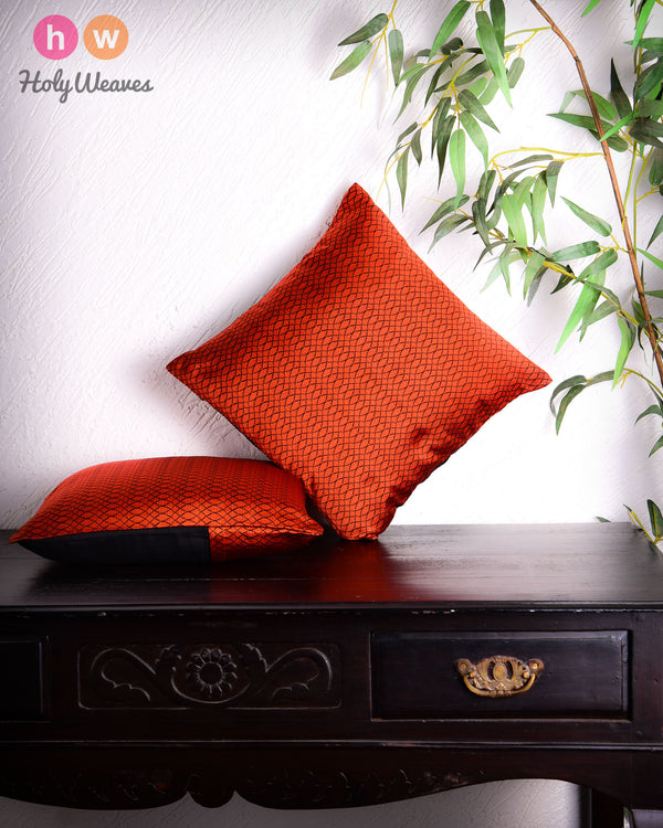 "Orange Geometric Illusion Poly Silk Cushion Cover 16"" - HolyWeaves"