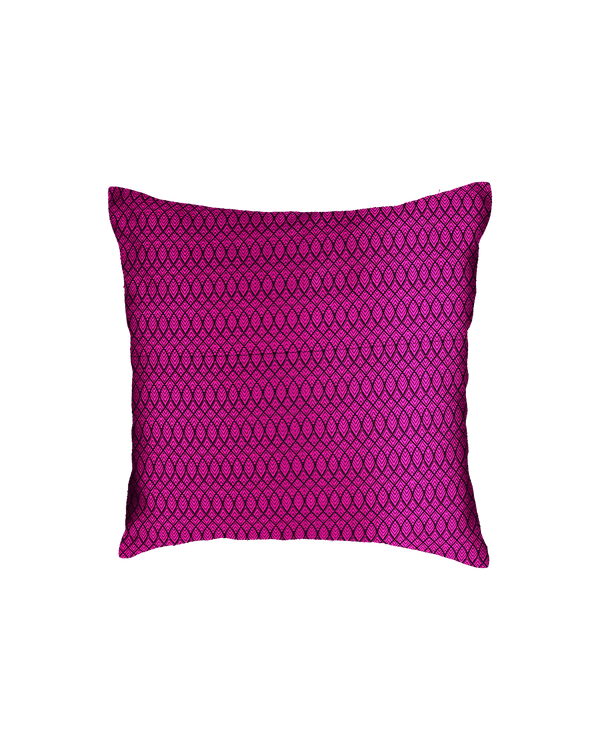 "Magenta Geometric Illusion Poly Silk Cushion Cover 16"" - HolyWeaves"