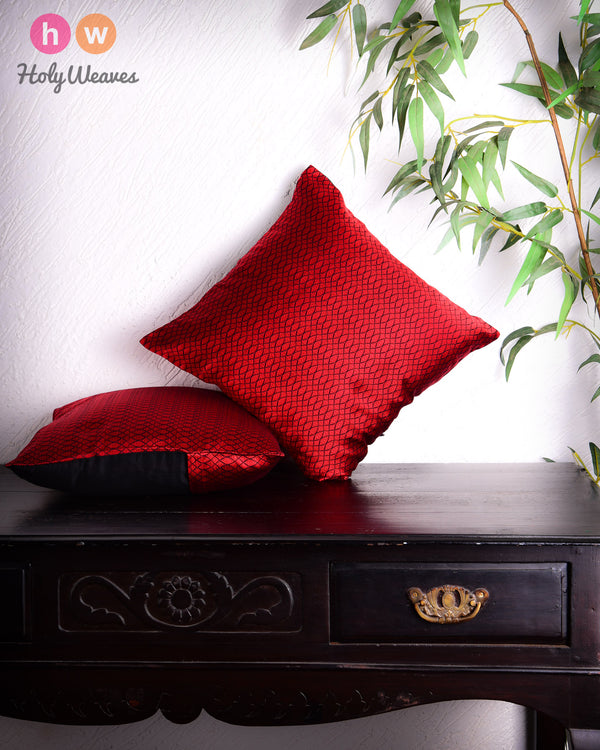 "Red Geometric Illusion Poly Silk Cushion Cover 16"" - HolyWeaves"
