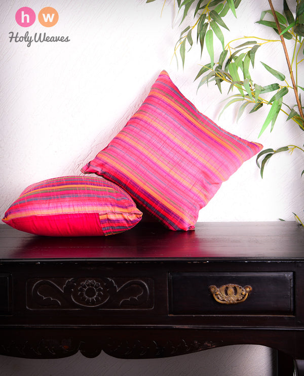"Pink Multi-color Stripes Poly Dupion Cushion Cover 16""- HolyWeaves"
