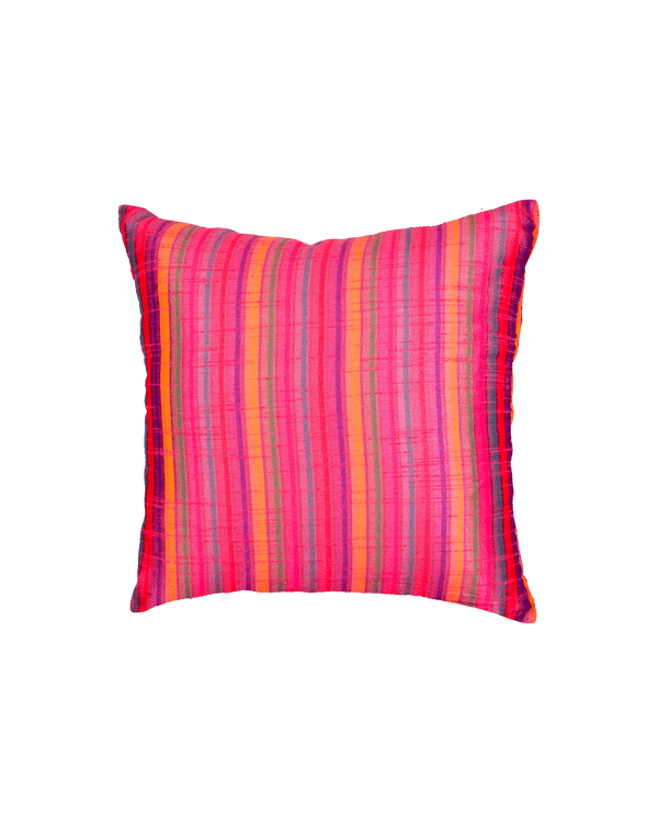 "Pink Multi-color Stripes Poly Dupion Cushion Cover 16"" - HolyWeaves"