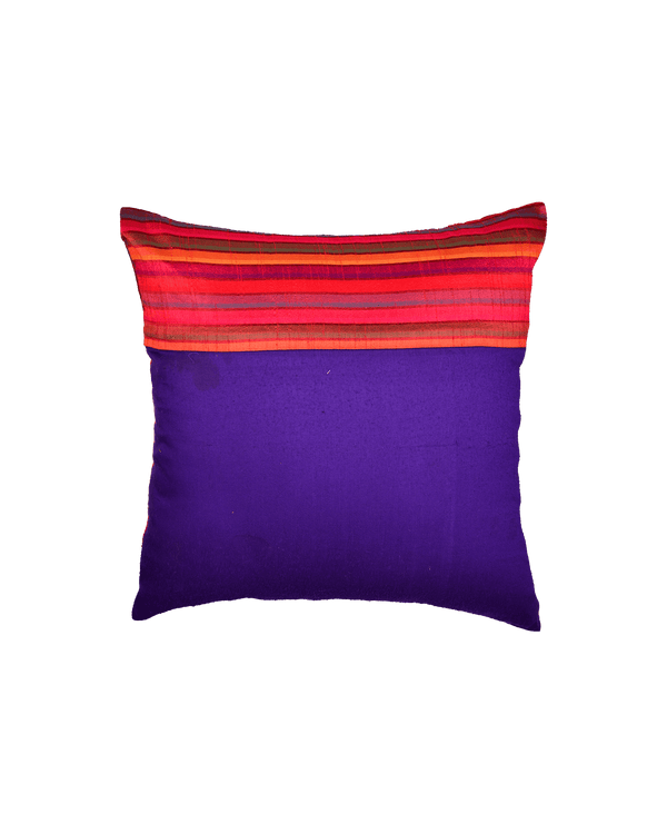 "Red Multi-color Stripes Poly Dupion Cushion Cover 16"" - HolyWeaves"