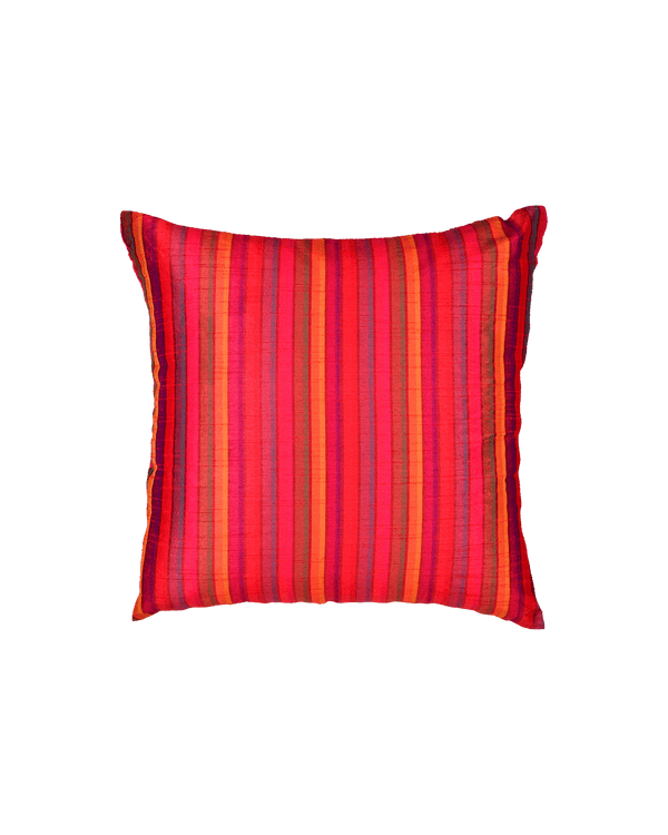 "Red Multi-color Stripes Poly Dupion Cushion Cover 16""- HolyWeaves"
