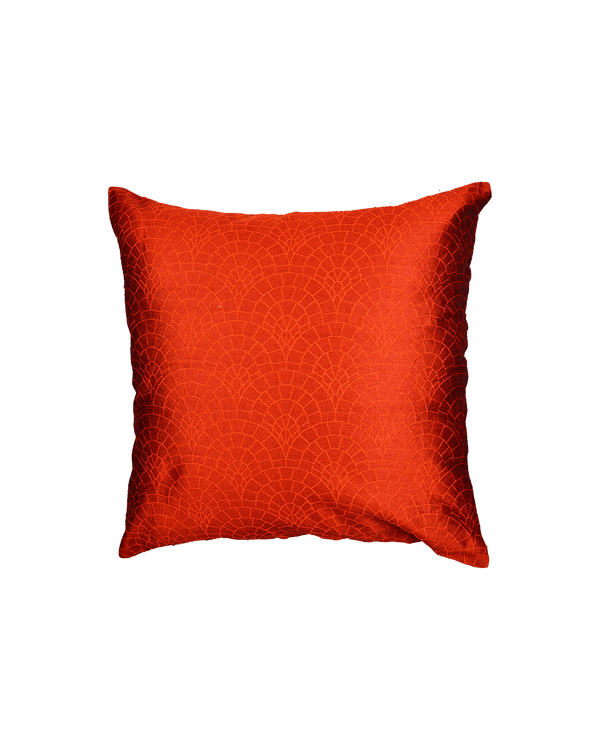 "Orange Banarasi Cobble Tanchoi Poly Dupion Cushion Cover 16""- HolyWeaves"