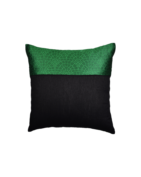 "Green Banarasi Cobble Tanchoi Poly Dupion Cushion Cover 16"" - HolyWeaves"