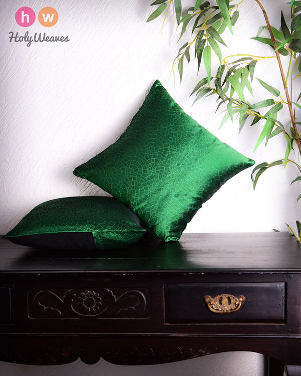 "Green Banarasi Cobble Tanchoi Poly Dupion Cushion Cover 16""- HolyWeaves"