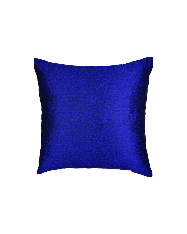 "Royal Blue Banarasi Cobble Tanchoi Poly Dupion Cushion Cover 16"" - HolyWeaves"