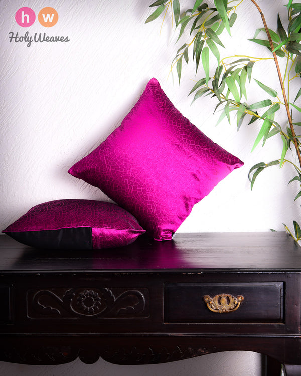 "Magenta Banarasi Cobble Tanchoi Poly Dupion Cushion Cover 16""- HolyWeaves"