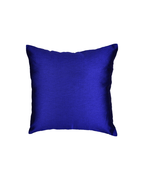 "Blue Chevron Tanchoi Poly Dupion Cushion Cover 16"" - HolyWeaves"