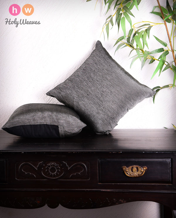 "Gray Poly Linen Cushion Cover 16""- HolyWeaves"
