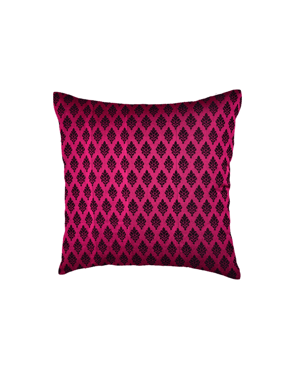 "Magenta Banarasi Damask Buti Poly Silk Cushion Cover 16"" - HolyWeaves"