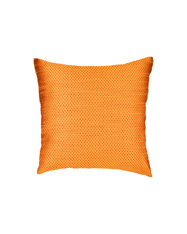 "Mustard Yellow Banarasi Jacquard Poly Dupion Cushion Cover 16""- HolyWeaves"