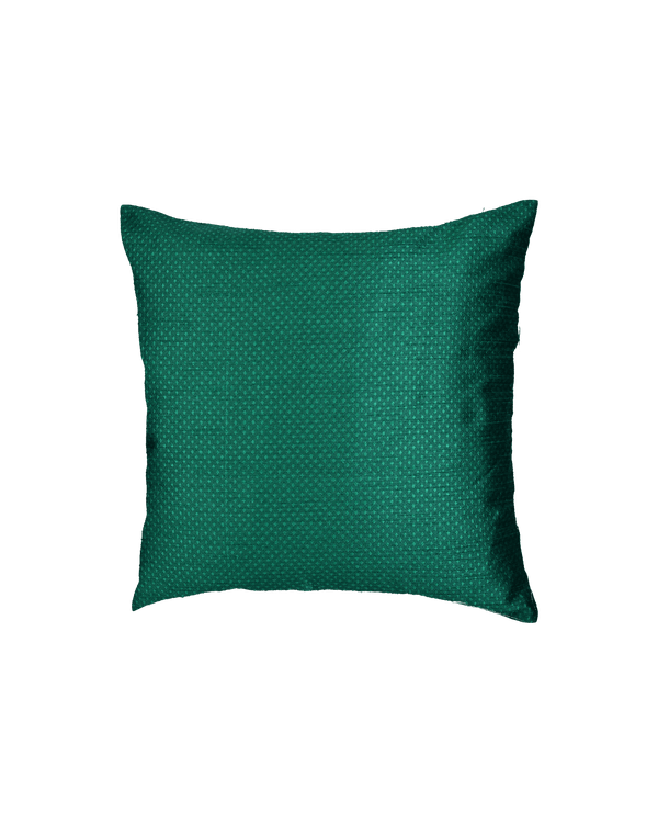 "Bottle Green Banarasi Jacquard Poly Dupion Cushion Cover 16""- HolyWeaves"