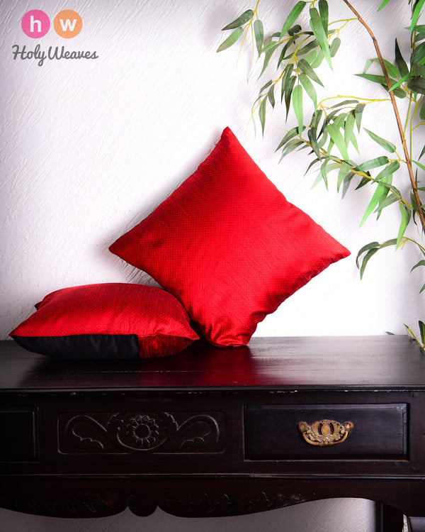 "Red Banarasi Jacquard Poly Dupion Cushion Cover 16""- HolyWeaves"