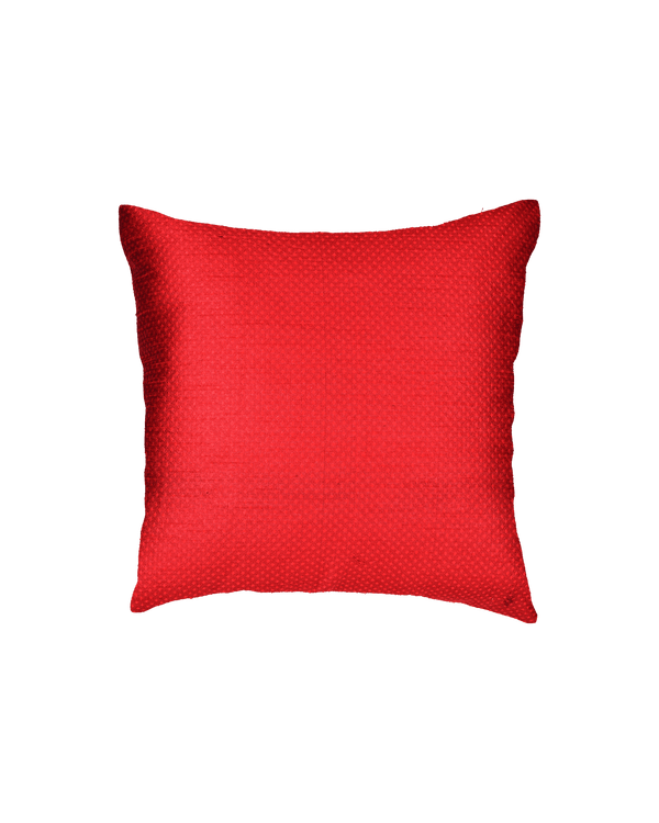 "Red Banarasi Jacquard Poly Dupion Cushion Cover 16"" - HolyWeaves"