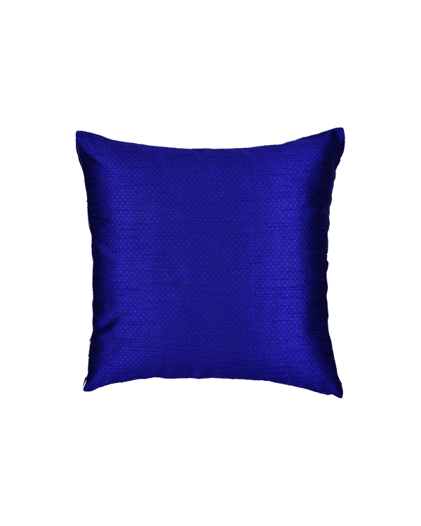 "Blue Banarasi Jacquard Poly Dupion Cushion Cover 16""- HolyWeaves"