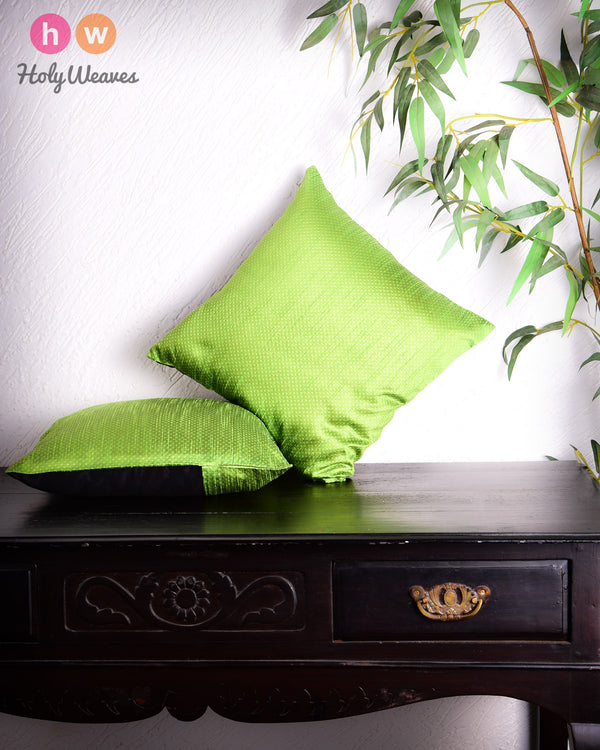 "Lime Green Banarasi Jacquard Poly Dupion Cushion Cover 16""- HolyWeaves"